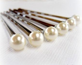 Cream Bridal Hair Pins. Pearl Hair Pins. Bridal Pearl Hair Pins. Set Of 6 Wedding Pearl Hair Pins. 6mm