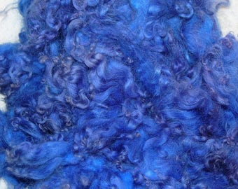 Karakul Sheep Wool Locks for Spinning Felting and Doll Hair, Doll Wig, Troll Hair, Hand Dyed shades of Periwinkle 1 oz.