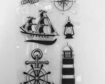 Silicone - clear Stamp - sea Theme clear stamps / transparent silicone - nautical rope knots / boat / compass / lighthouse