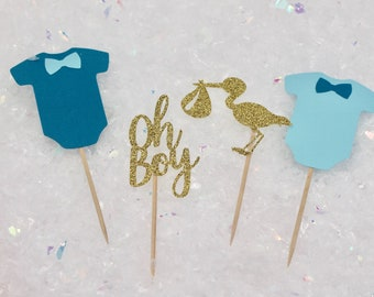 12 ct. Baby Shower Cupcake Toppers - Oh Boy Cupcake Toppers - Baby Shower Decorations - Stork Cupcake Toppers - Onesie Cupcake Toppers