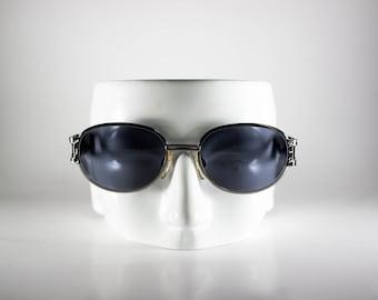 LES COPAINS Vintage Sunglasses Unisex Black Metal Plastic Oval 2000 LESS74Q-1