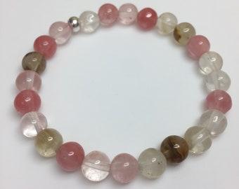 Watermelon quartz stretch bracelet