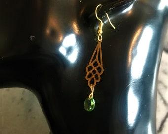 Art Deco Teardop earrings with Swarovski Crystals, Art deco earrings, Teardop earrings item 615A by CraftyLittleMonkeyGB