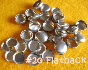 50 Cover Buttons FLAT BACKS - 1/2 inch - Size 20  flat backs no loops covered buttons notion supplies diy refill