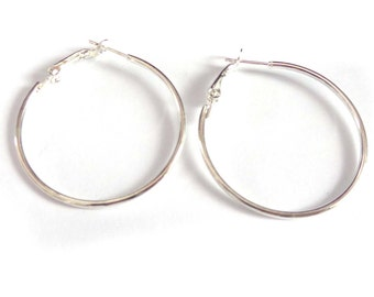 1.5 inch Small Thin Hoop Earrings Silver Tone Hoop Earrings 1.5 Inch