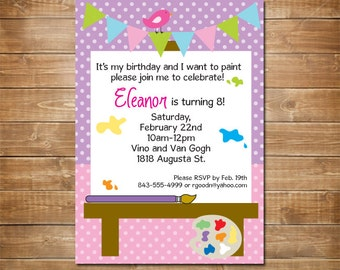 Painting Party Invitation, Art Birthday Party, Personalized Birthday Invite, Kids, Printable File, Arts and Crafts Birthday, Painting Party,