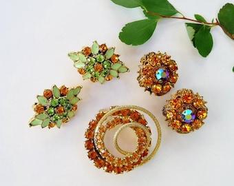 Vintage 1950s Topaz Rhinestone Jewelry Destash Lot, 1 Brooch, 2 Clip On Earrings, W. Germany