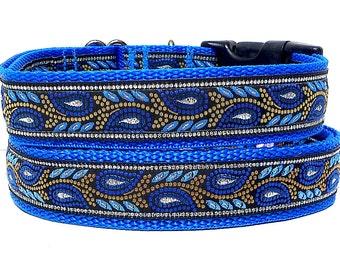 blue dog collar, dog collar, BLUE LEAF, metallic dog collar, tag collar, buckle collar, buckle dog collar, blue metallic collar