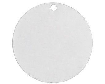 "10 Bright Silver Plated Circle Disc Metal Stamping Blanks, 22 gauge, 5/8"" diameter (15mm)  MSB0125"