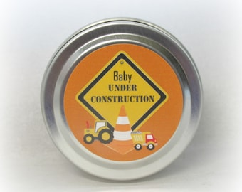 Baby Boy Under Construction Soy Candle Favor, Baby Shower Favor, Under Construction, Custom, 2 ounce Metal Tin