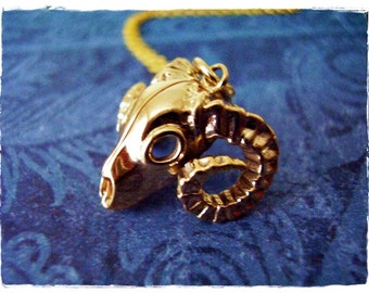 Gold Bighorn Sheep Skull Necklace - Bronze Bighorn Sheep Skull Charm on a Delicate 14kt Gold Filled Cable Chain or Charm Only
