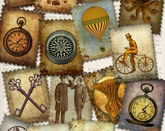 Steampunk Stamps postage stamps letters hobby crafting scrapbooking digital instant download printable collage sheet - VDMIST0998