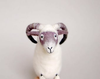 Felt Ram - Richard. Felted Sheep Art Marionette Handmade Puppet for kids Felted Waldorf Organic Toy Farm animal. white grey purple  violet.