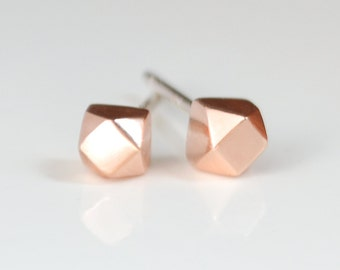 Rose Gold Stud Earrings - Simple Geometric Faceted Studs - Tiny Pastel Pink and Silver Earings - Handmade in Brooklyn NY by Hook And Matter