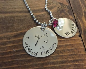 Hand stamped stainless steel i wished for you birthstone name necklace