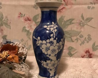Blue Cherry Blossom Vintage Retro Decorative Vase