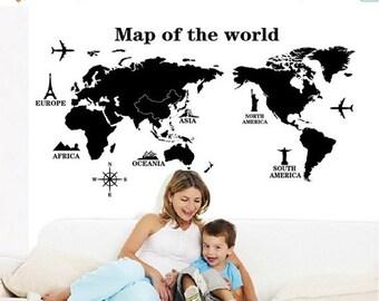 Limited Time Sale World map wall sticker, world map wall decal, Office wall decal, Home wall decal, Kid's room world map sticker
