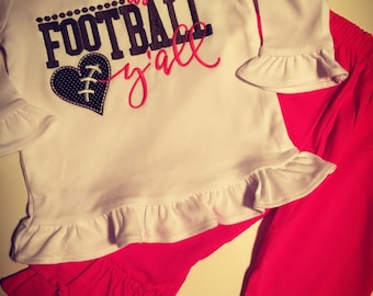 Handmade...I'ts Football Y'all outfit...Football...Sports Outfits...Football Clothes...Team Spirit