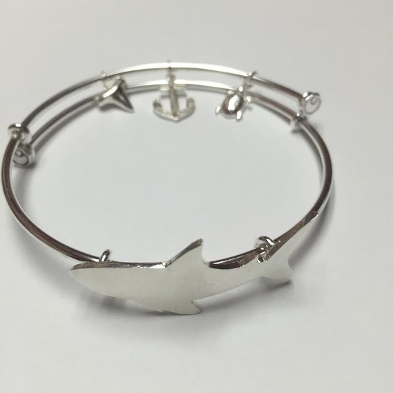 Shark in Sterling silver,Shark bracelet,shark,sup, Expandable Bracelet,salt Life, under water, 925,model, adjustable bracelet