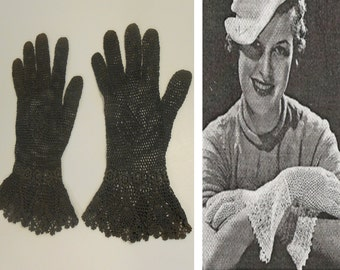 1937 Hit Parade - Vintage 1930s Charcoal Grey Gray Crochet Gauntlet Gloves - 6/6.5
