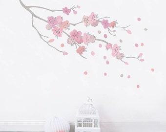 Wandtattoo Kirschblüte Stoff für Mädchen Zimmer und Baby Nursery