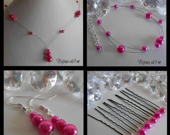 Set of 4 wedding pieces cascade of fuchsia beads
