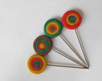 Blocking Pins, decorative polymer clay T pins