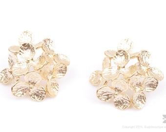 E286-MG// Matt Gold Plated Floral Post Earring, 2pcs