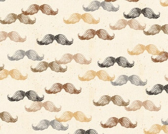 Mustaches on Cream Fabric /  A Close Shave Fabric / Quilting Treasures 24429 Mustache Material / Fabric By The Yard & Fat Quarters