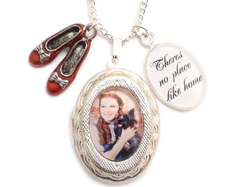 Wizard of oz necklace locket There's no place like Home ..Dorothy and the Ruby red slippers