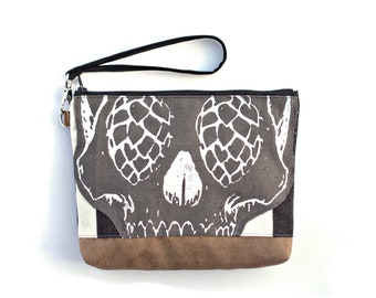 Skull with Hops for Eyes striped Wristlet with removable strap - punk rock