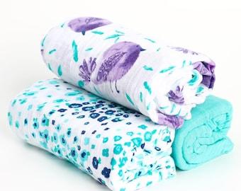 3 Pack Muslin Swaddle Blankets Birdies and Aqua Floral Set