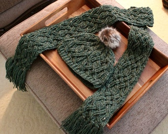 Crochet Scarf Pattern, Evergreen Cable Braided Scarf Crochet Pattern for Women and Men Aran Celtic Cable Scarf Cowl