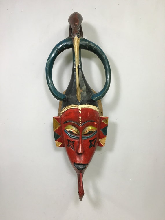 African Mask Red Bird Baule Mask Ivory Coast Handmade Bird Crest Female Beauty Red Bird Mask