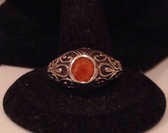 Sterling and Orange Ring