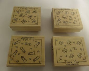 "STAMPIN'UP! ""Fabulous Four""  Set of 4 Rubber Stamps. From 2004"