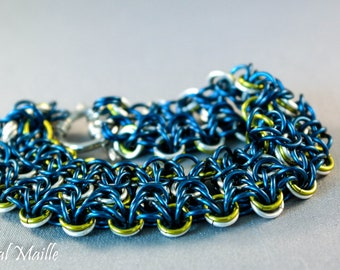 Blue and Green Olivia Chainmaille Bracelet