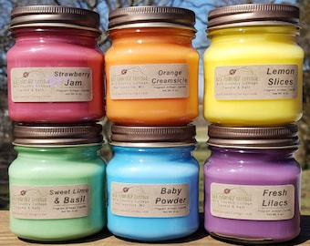 6 HOME-SCENTING CANDLES - Choice - Vanilla, Cinnamon, Apple, Pumpkin, Fresh, Clean, Citrus, Floral, Spice, Fruit, Herbal, Candle Gift Pack