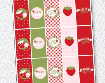 Strawberry Party PRINTABLES Mini Candy Bar Wrappers (INSTANT DOWNLOAD) by Love The Day