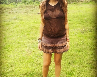 Brown cotton gypsy skirt