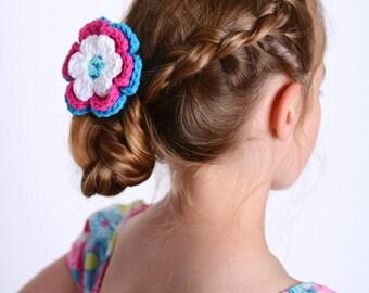 Flower Hair Clip Crochet Flower White Hair Clip White Flower Hot Pink Hair Clip Hot Pink Flower Bright Blue Hair Clip Bright Blue Flower