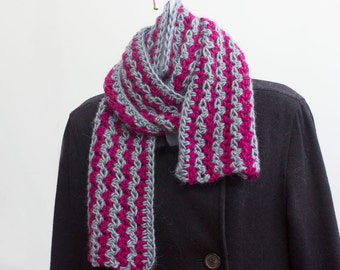 Crocheted Striped Scarf,  Gray Scarf,   Raspberry Scarf, Alpaca, Magenta Scarf, Ready to Ship