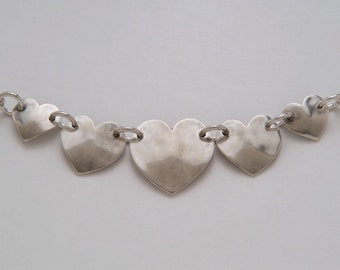Coins Silver Hearts Necklace made from 5 Vintage American Silver Coins