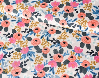 Cotton + Steel Rifle Paper Co. Fabric By The Yard, Canvas Fabric,  Les Fleurs Canvas Rosa Floral Natural Print Fabric, Bright Floral Fabric