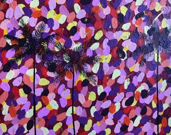 Confetti Sunset Tropical Abstract Palm Tree Acrylic Painting