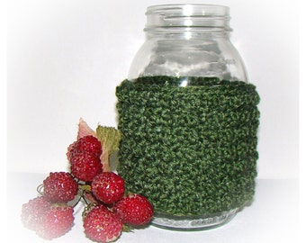 Asparagus Green Ball Jar Cozy Quart size, canning cover, Eco friendly recycled yarn, special stitch