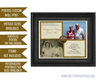50th Anniversary Gift - Gold 50th Wedding Anniversary - Anniversary Gift Print - Then And Now Photos - vow renewal couple gift gold