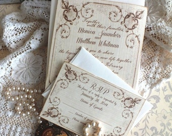 Romantic Vintage Wedding Invitation with Fancy Frame Handmade by avintageobsession on etsy