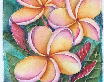 Hawaii Plumeria flower ORIGINAL pua melia hawaiian tropical garden watercolor painting by Melanie Pruitt EBSQ SFA