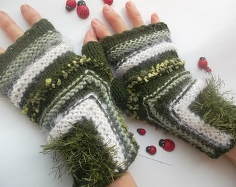 Women L Gloves Ready To Ship Fingerless Mittens Cabled Hand Knitted Romantic Striped Warm Gift Wool Mohair Wrist Warmers Winter Arm 893